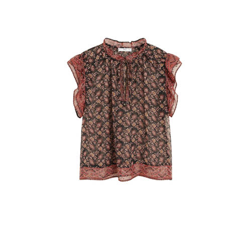 Mango top met all over print en ruches rood/multi