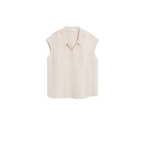 Violeta by Mango blouse met linnen lichtbeige