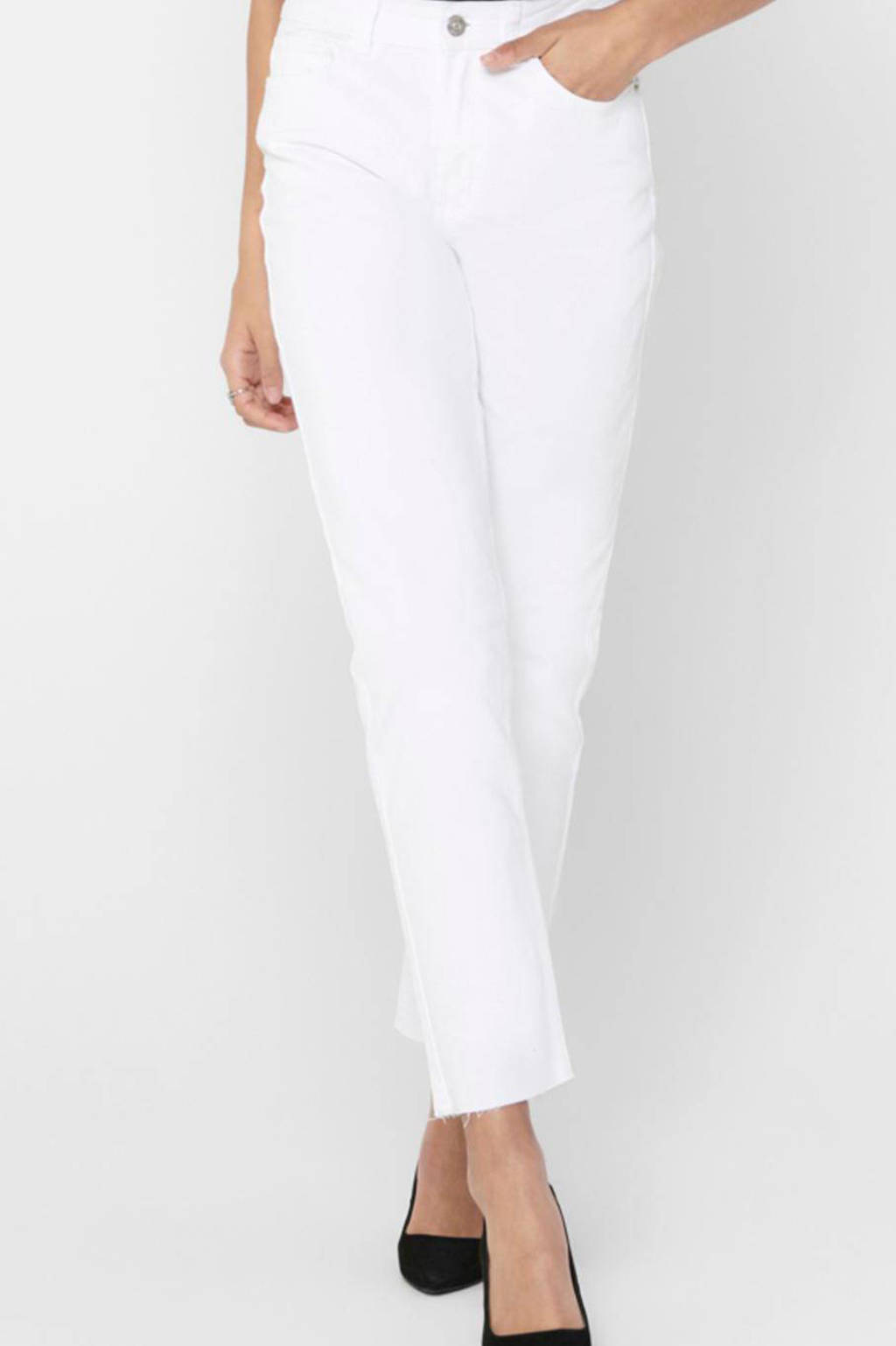 ONLY cropped high waist regular fit jeans ONLEMILY white, Wit