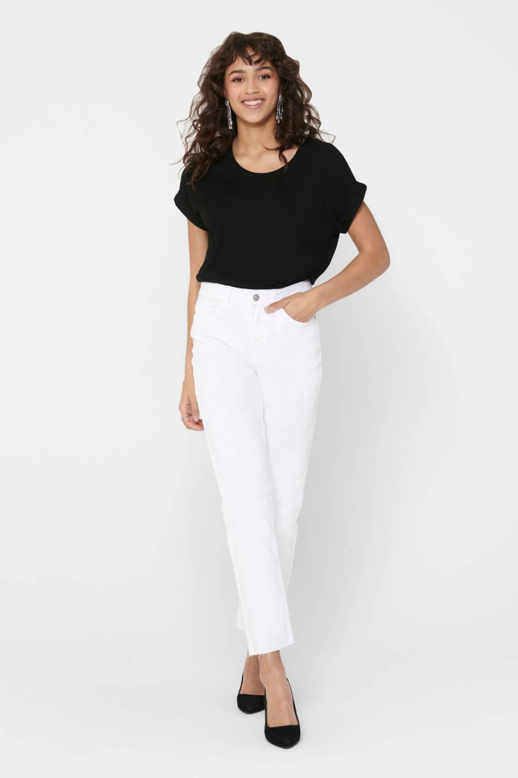 ONLY cropped high waist regular fit jeans wit, Wit