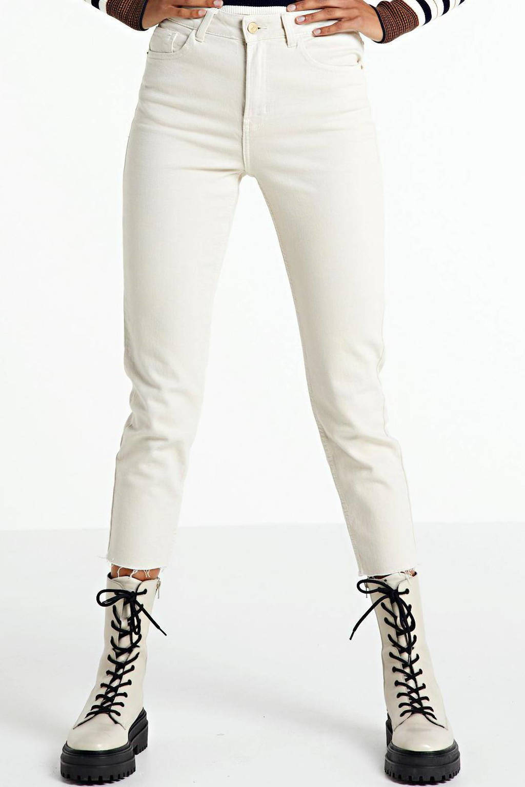 ONLY cropped high waist regular fit jeans Emily beige, Beige