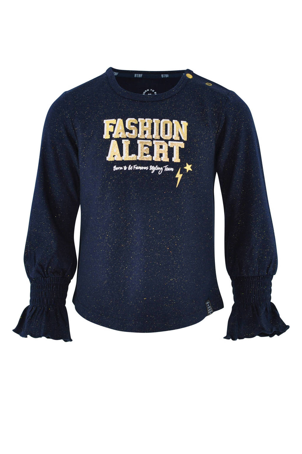born to be famous. top Evi met tekst donkerblauw/goud, Donkerblauw/goud