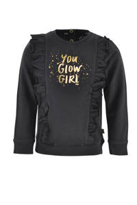 born to be famous. sweater Inge met tekst en ruches antraciet/goud