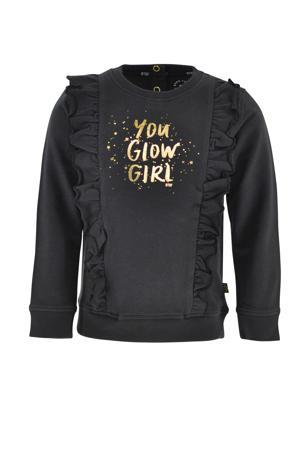 sweater Inge met tekst en ruches antraciet/goud