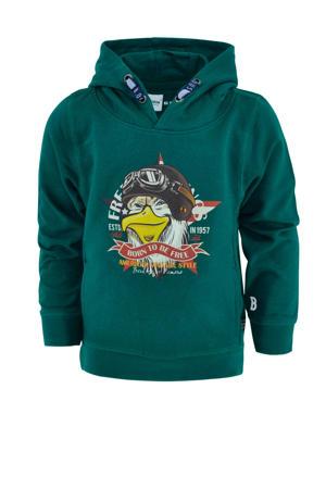 hoodie Volco met printopdruk groen