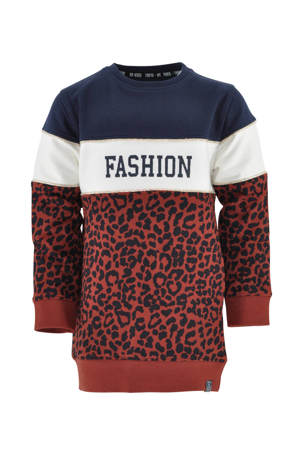 born to be famous. sweatjurk Gitta met panterprint donkerblauw/brique/wit, Donkerblauw/brique/wit