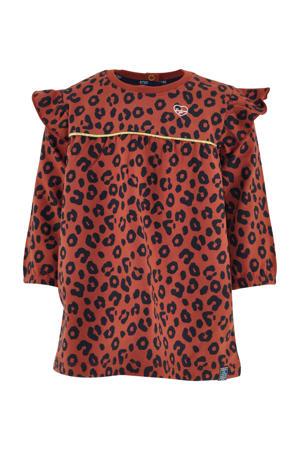 A-lijn jurk Fia met panterprint en ruches brique/zwart