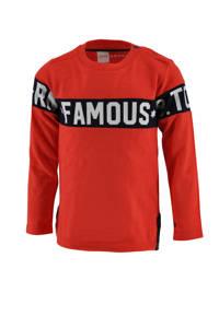 born to be famous. longsleeve Renzo met tekst oranjerood, Oranjerood