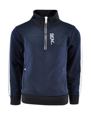 sweater Norris met contrastbies donkerblauw