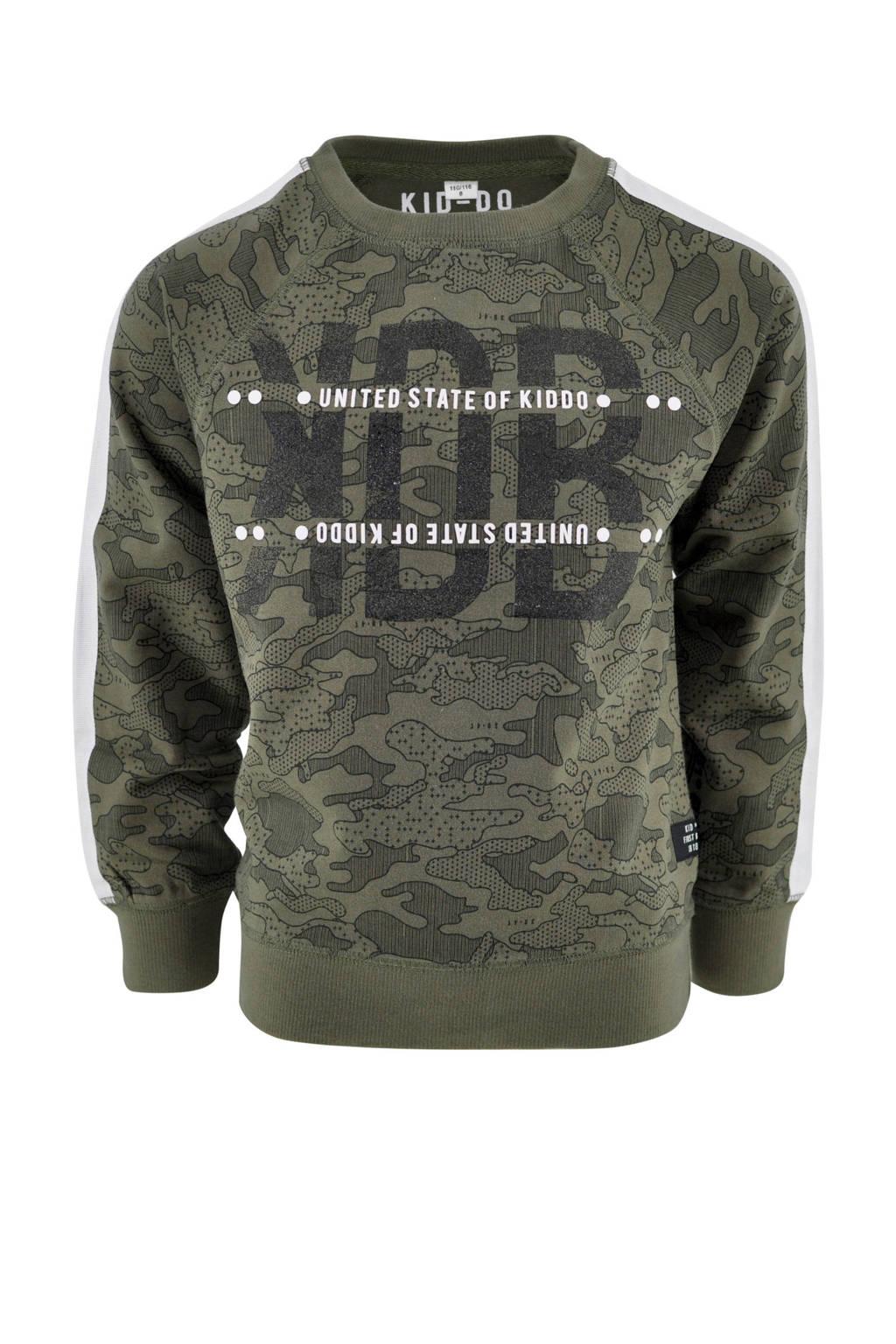 KIDDO sweater Peter met contrastbies legergroen, Legergroen
