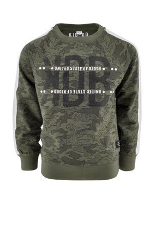 sweater Peter met contrastbies legergroen