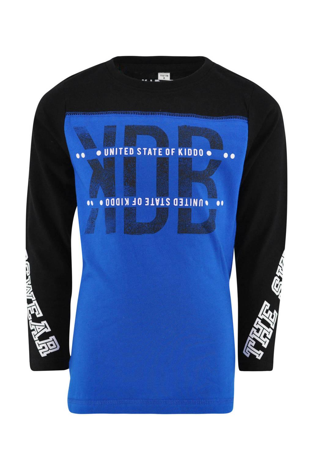 KIDDO longsleeve Pierre met tekst kobaltblauw/zwart, Kobaltblauw/zwart
