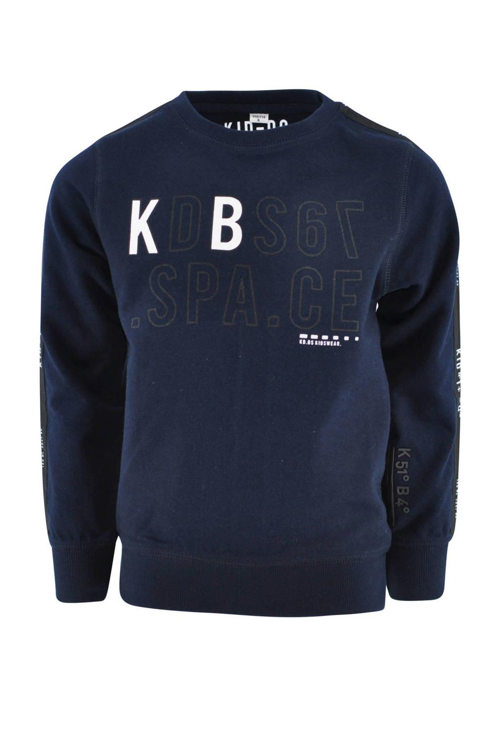 KIDDO sweater Oscar met tekst donkerblauw, Donkerblauw