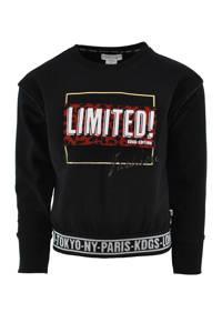KIDDO sweater Carly met printopdruk zwart, Zwart