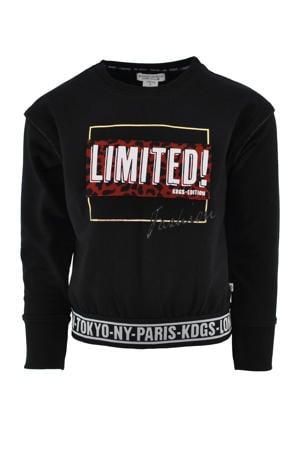 sweater Carly met printopdruk zwart