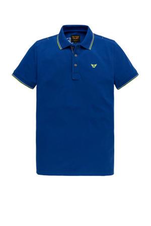 regular fit polo met contrastbies en contrastbies kobaltblauw