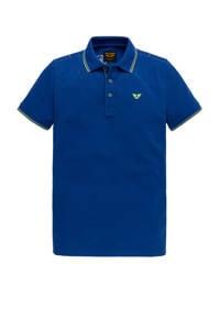 PME Legend regular fit polo met contrastbies kobaltblauw, Kobaltblauw