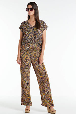 straight fit broek met all over print bruin