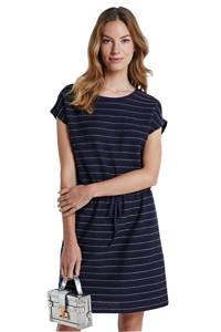 ONLY gestreepte jersey jurk Millie Life donkerblauw/zilver, Donkerblauw/zilver