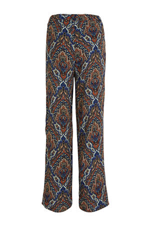straight fit broek met all over print blauw