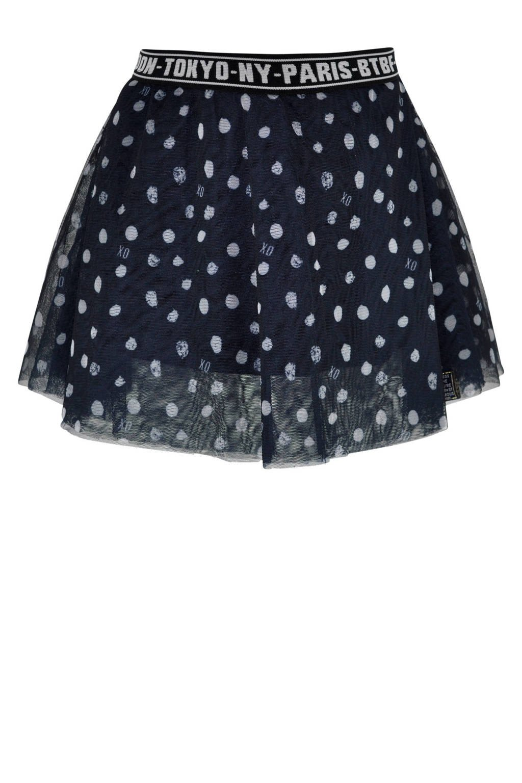 born to be famous. semi-transparante rok Dream met all over print navy, Navy