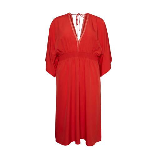 VERO MODA CURVE jurk met vleermuismouwen rood