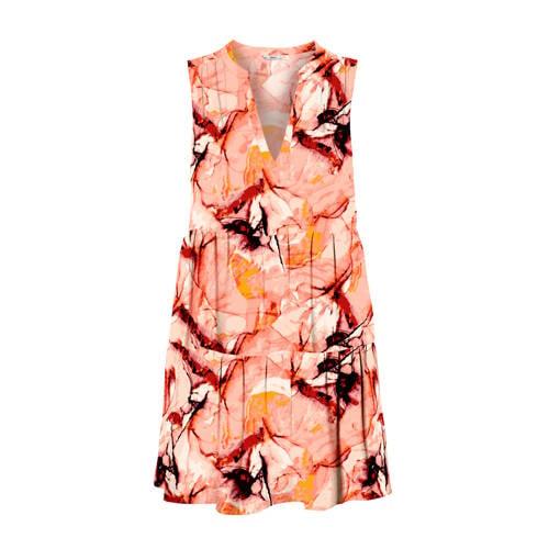 ONLY jurk Alma met all over print en plooien oranj