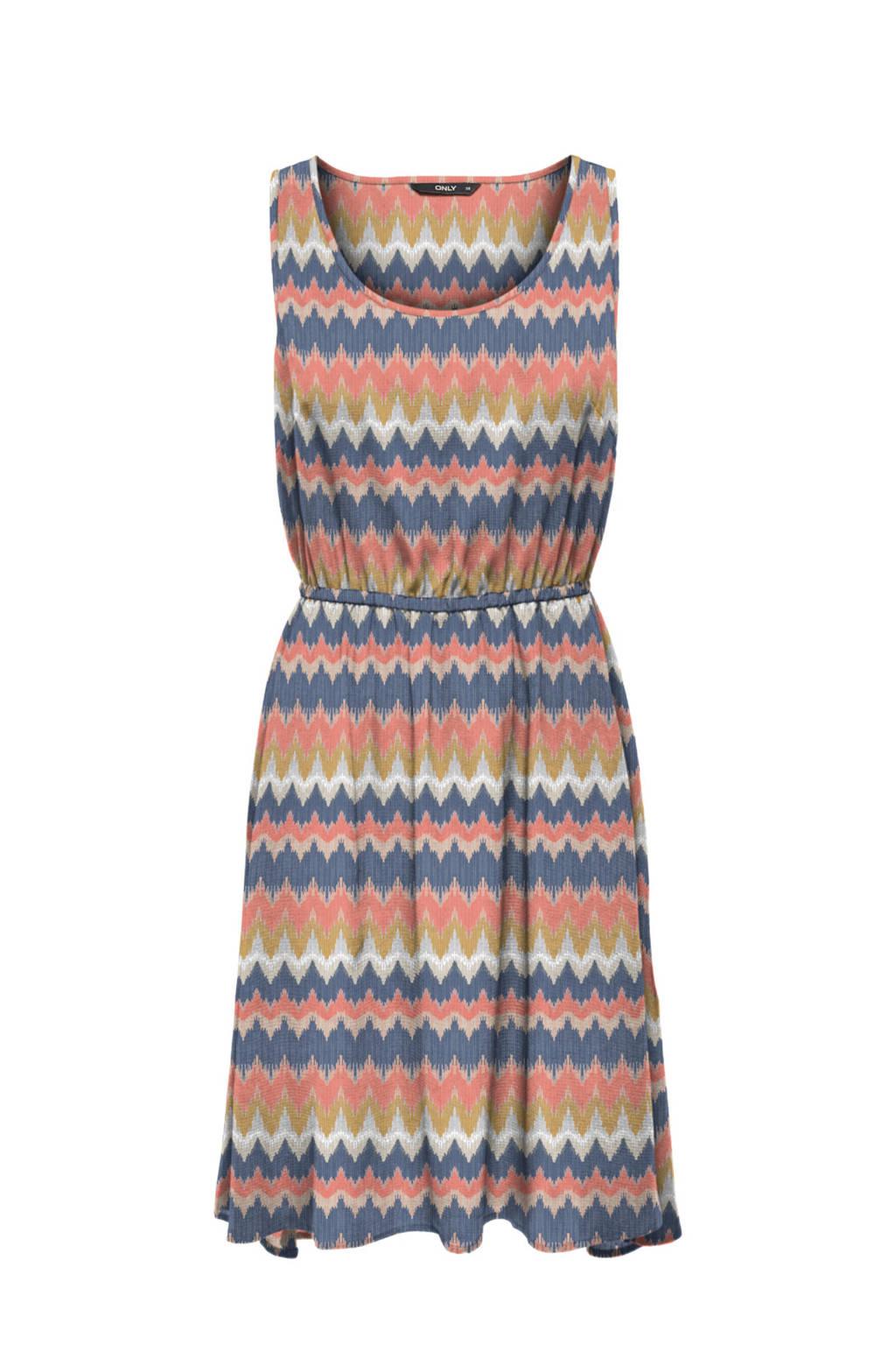 ONLY jurk met all over print wit/roze/groen, Roze/blauw