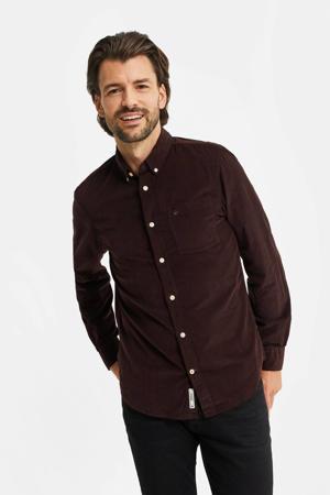 corduroy slim fit overhemd roodbruin