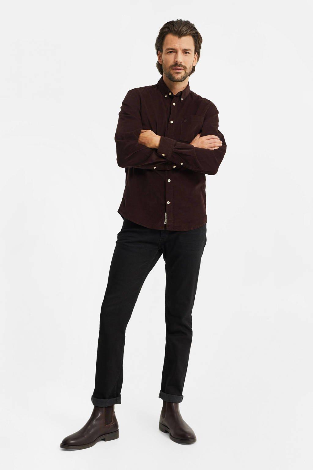 WE Fashion corduroy slim fit overhemd roodbruin, Roodbruin