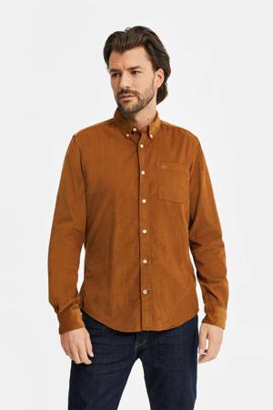 corduroy slim fit overhemd camel