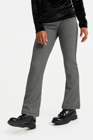loose fit broek met pied-de-poule zwart