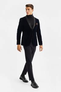 WE Fashion velours slim fit colbert donkerblauw, Donkerblauw