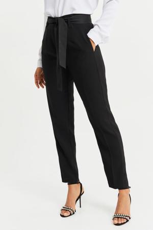 high waist tapered fit pantalon zwart