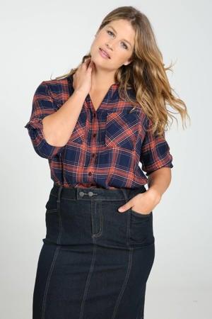 geruite blouse marine/rood