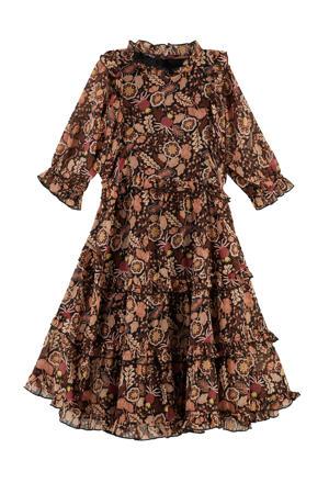 jurk met ruches multicolor