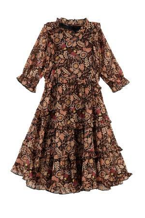 zijdeachtig aanvoelende jurk met ruches multicolor