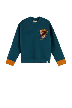 sweater met printopdruk en patches blauw/oranje