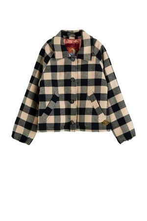 geruite jas met wol ecur/zwart