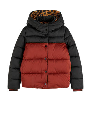 gewatteerde winterjas zwart/donkerrood