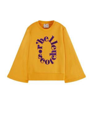 sweater met tekst geel/paars