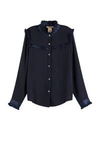 Scotch & Soda blouse met ruches donkerblauw, Donkerblauw