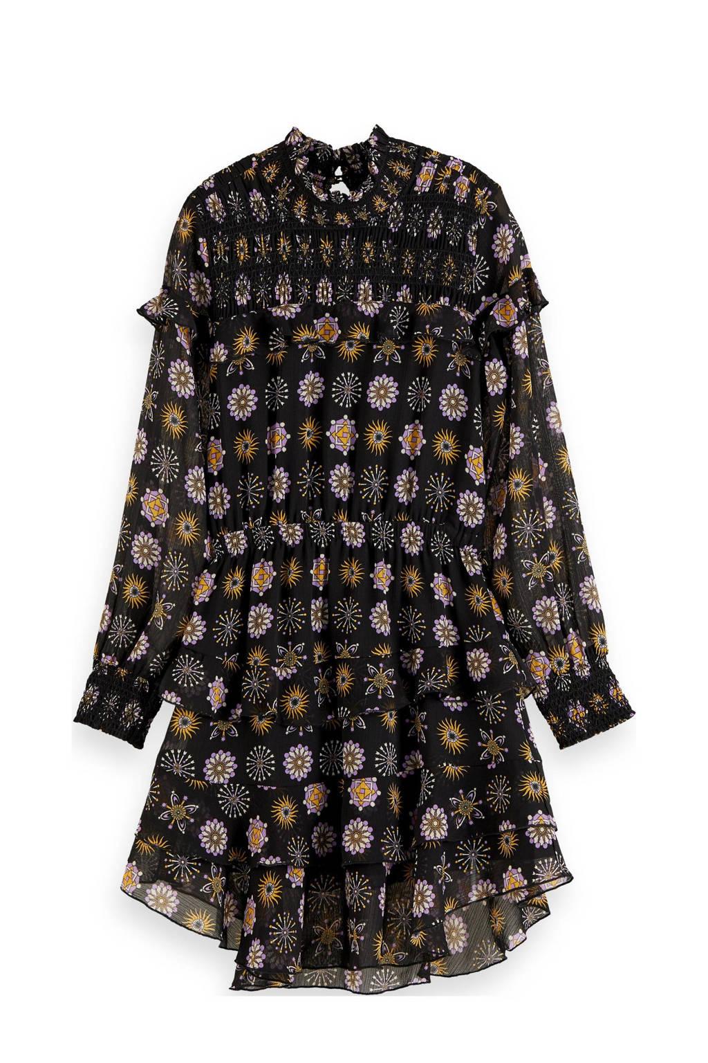 Scotch & Soda A-lijn jurk met all over print en ruches zwart/geel/lila, Zwart/geel/lila