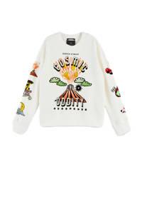Scotch & Soda sweater met printopdruk wit, Wit