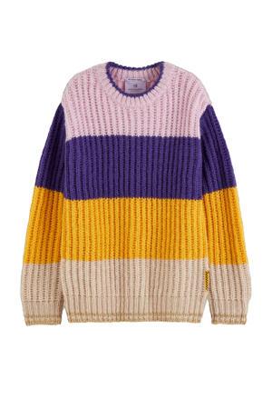 gebreide trui geel/paars/lila