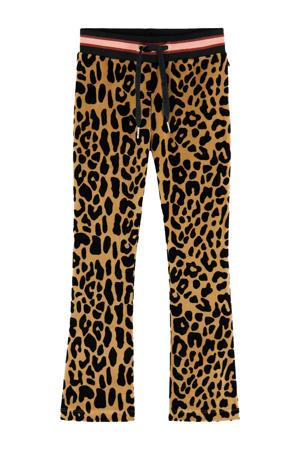 flared velvet broek met panterprint zwart/bruin/roze