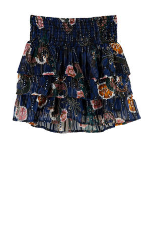 rok met all over print en glitters donkerblauw