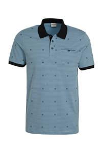 JACK & JONES CORE regular fit polo met all over print grijsblauw/zwart, Grijsblauw/zwart