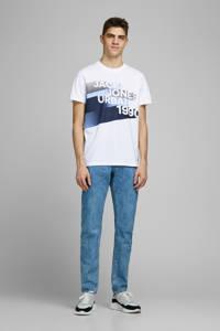 JACK & JONES CORE T-shirt met printopdruk wit/blauw, Wit/blauw