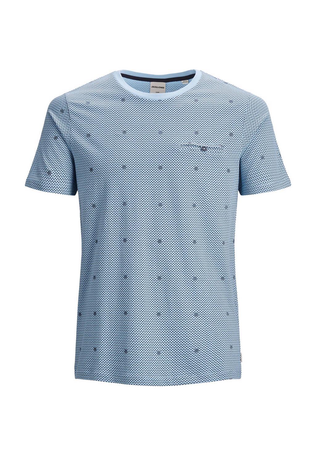 JACK & JONES CORE T-shirt met all over print blauw, Blauw